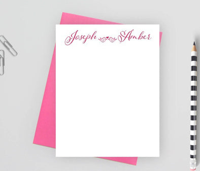 Personalized couples stationery with bird design.