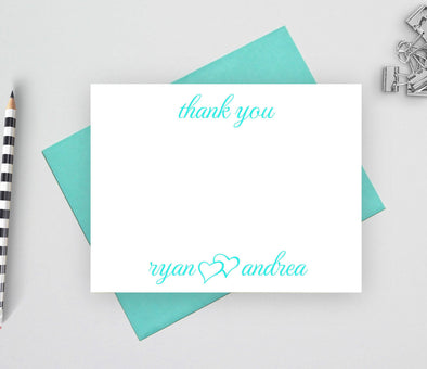 Personalized wedding thank you note cards.