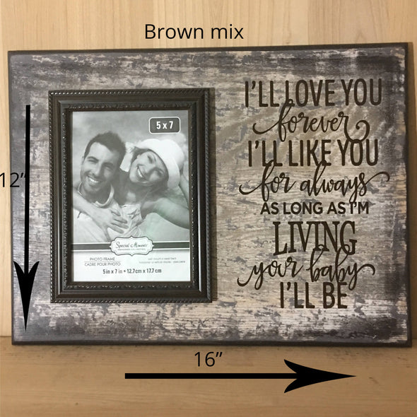 12x16 brown mix wood sign with attached picture frame and brown words
