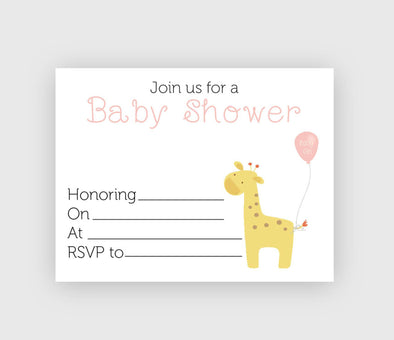 Girl baby shower invitation with giraffe design digital download