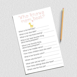 Who Knows Mommy Baby Shower Game, Girl Baby Shower, Giraffe Theme