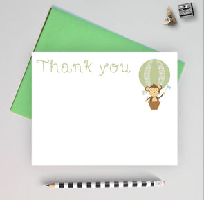 Gender Neutral Baby Shower Thank You Note Cards, Monkey Theme