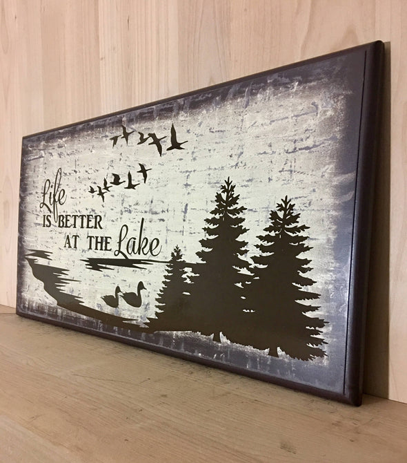 Wood sign for cabin decor or man cave.  Trees in design.