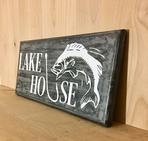Lake house wood sign great for cabin decor or father's day,