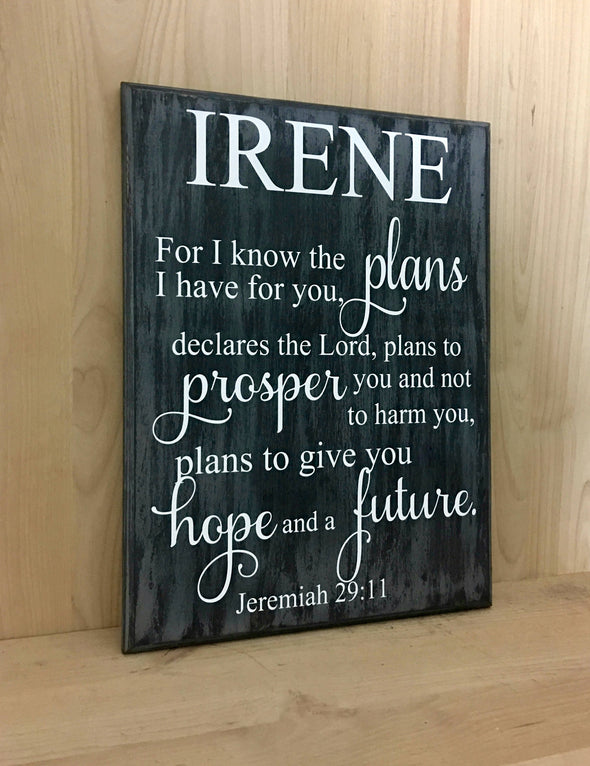 For I know the plan personalized religious wooden sign.