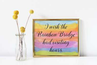 Script rainbow bridge art print for the loss of a pet.