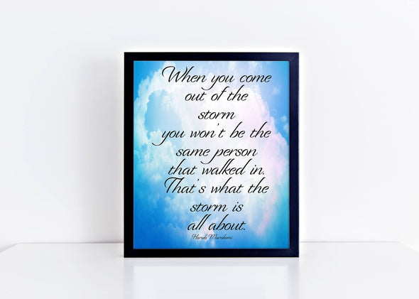 Out of the storm inspirational art print with cloud background.
