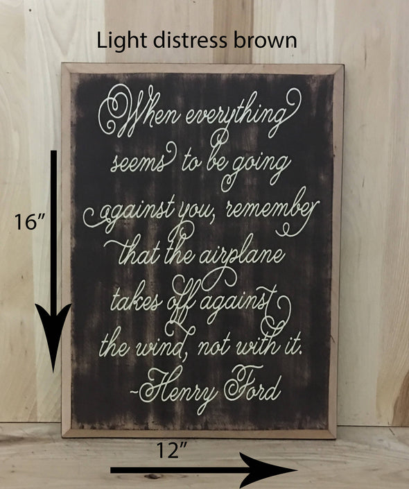 12x16 light distress brown wood sign with cream lettering