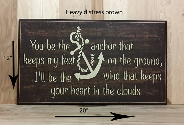 12x20 heavy distress brown wood sign