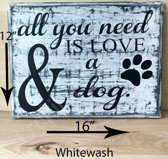 12x16 whitewash wood dog sign