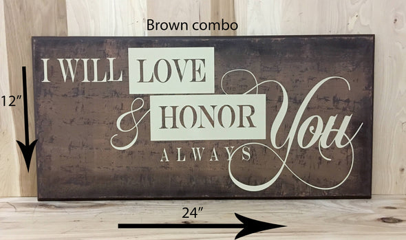 12x24 brown combo wedding sign with cream lettering
