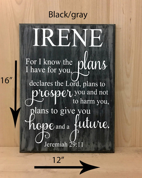 12x16 black/gray religious wood sign with white lettering.