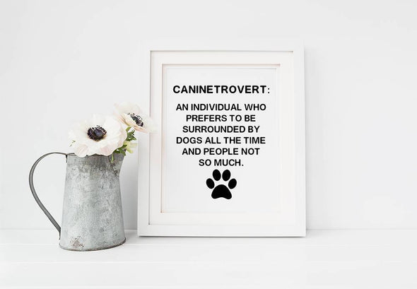 Caninetrovert definition art print for home decor.