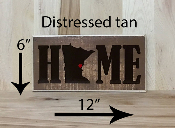 6x12 distressed tan home wood sign with brown lettering.