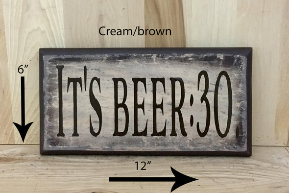 12x6 cream/brown beer wood sign for man cave