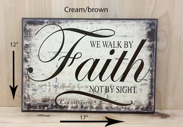 17x12 cream/brown religious wood sign with brown lettering.
