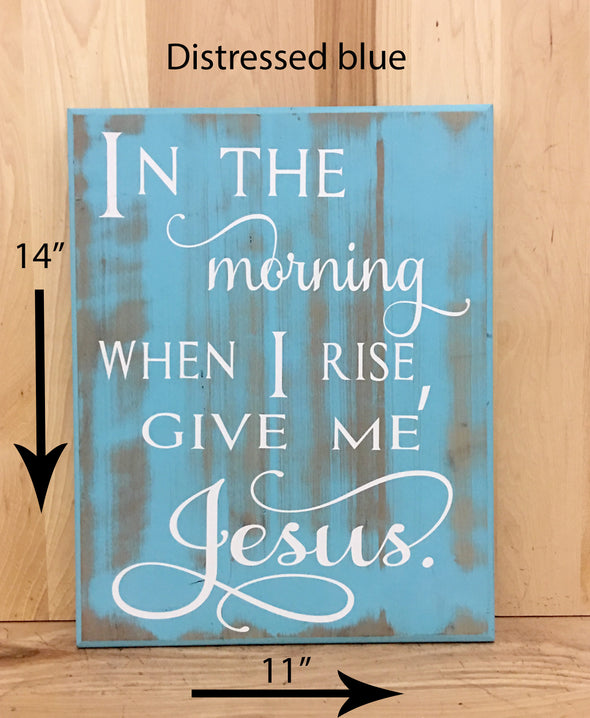 14x11 distressed blue religious wood sign with white lettering