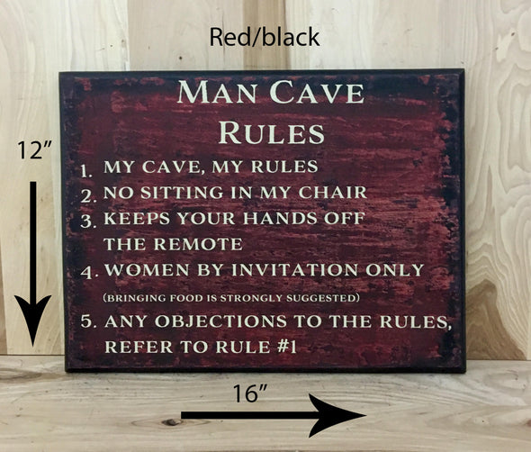 12x16 red/black man cave wod sign with cream lettering