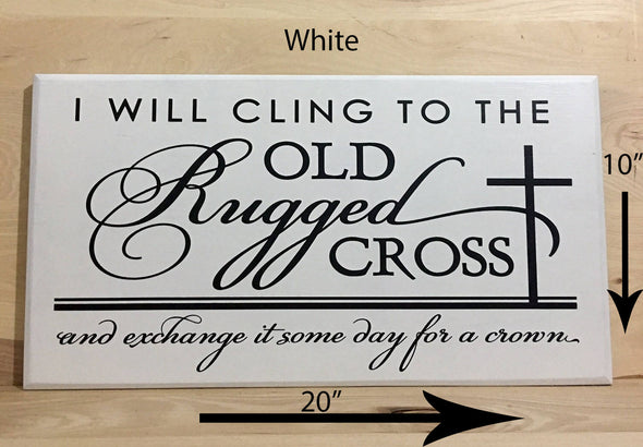 20x10 white religious wood sign with white lettering.