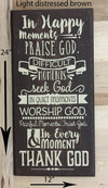 12x24 light distress brown religious sign with cream lettering