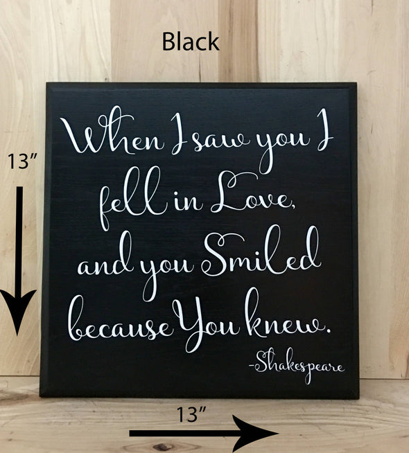 13x13 black wedding wood sign with white lettering.