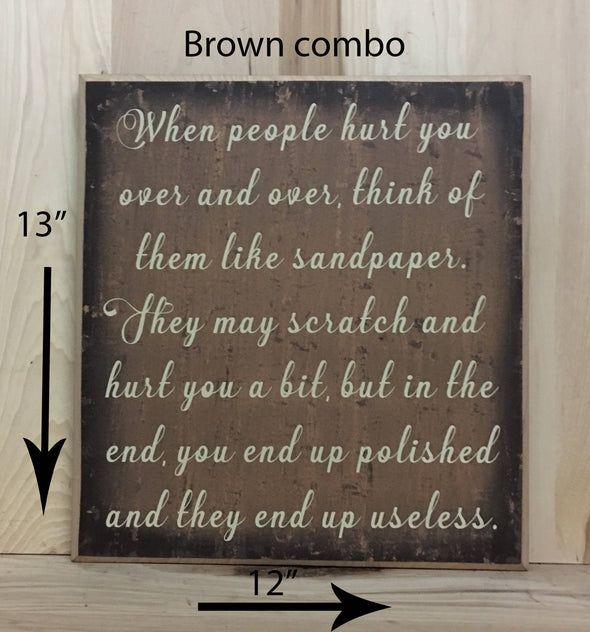 13x12 brown combo inspirational wood sign with cream lettering.