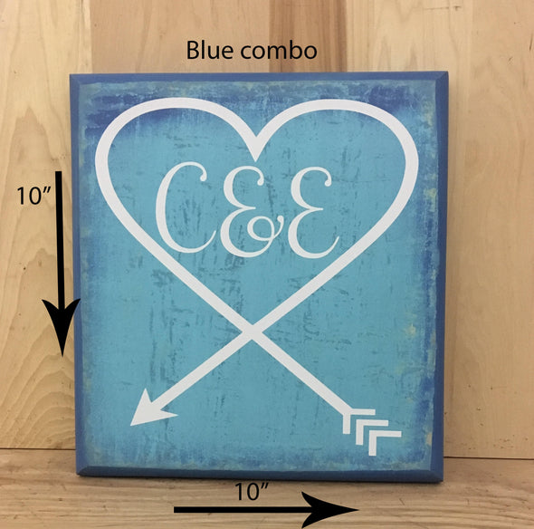 10x10 blue combo wood sign with white lettering for wedding gift