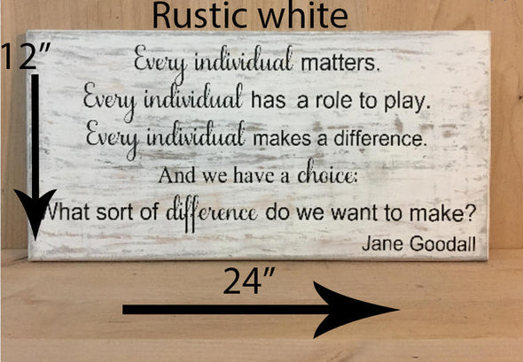 12x24 rustic white wood sign with black lettering