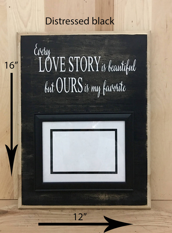 12x16 distressed black wedding wood sign with white lettering and frame