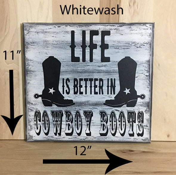 11x12 whitewash western wood sign with black lettering