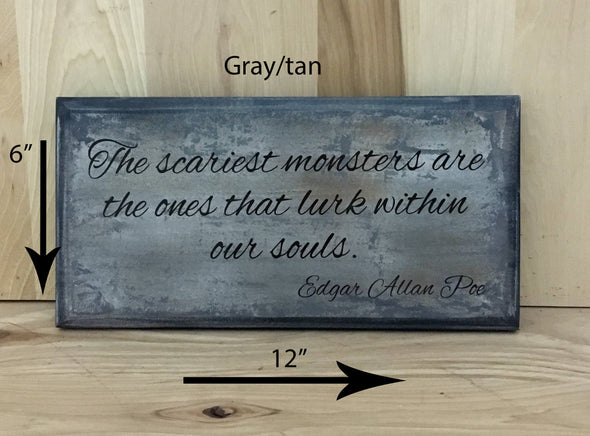 12x6 gray/tan Edgar Allan Poe wood sign with brown lettering