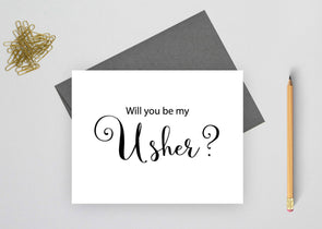 Will you be my usher wedding card?