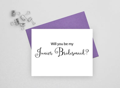 Will you be my junior bridesmaid wedding card.