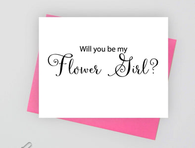 Will you be my flower girl wedding card.