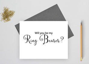 Will you be my ring bearer wedding card.