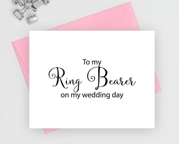 To my ring bearer on my wedding day wedding card.