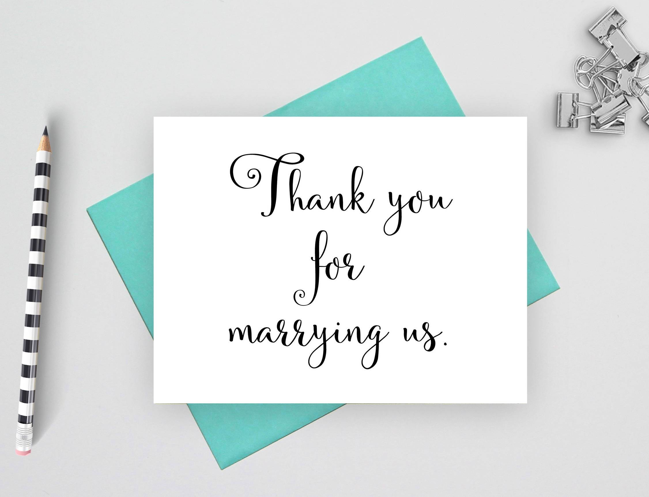 Thank You For Marrying Us Wedding Thank You Card Officiant