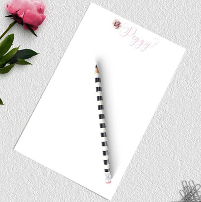 Rose image personalized notepad.