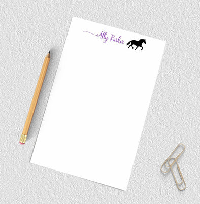 Personalized horse design notepad.