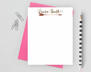 Bohemian personalized note card with pink envelope.