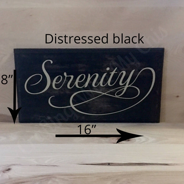 16x8 distressed black serenity wood sign with white lettering