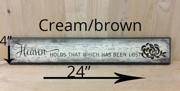 4x24 cream/brown memorial sign with brown lettering