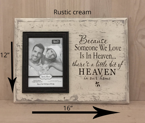 12x16 rustic cream memorial wood sign with attached picture frame
