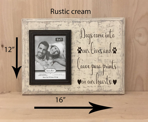 12x16 rustic cream dog wood sign with brown lettering and frame