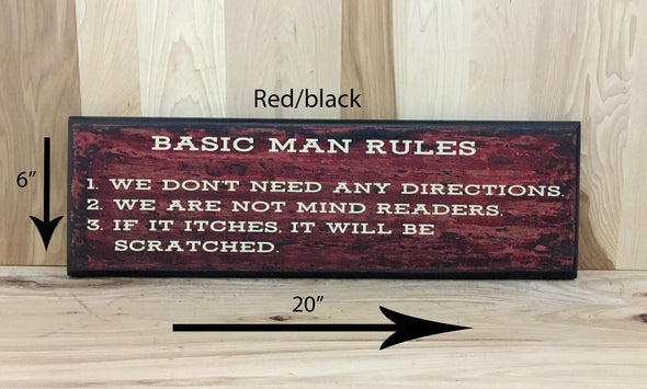 20x6 red/black man rules sign for cream lettering
