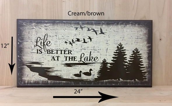 12x24 cream/brown wood sign with brown lettering for cabin decor.