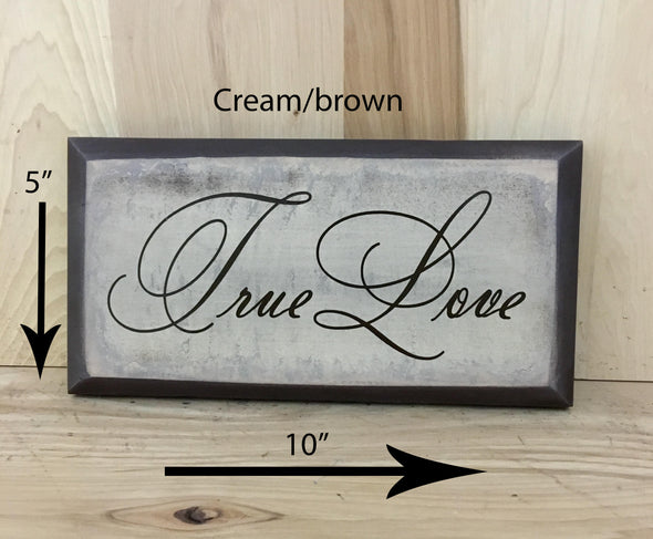 10x5 cream/brown wedding wood sign with brown lettering.