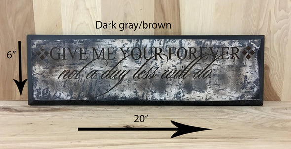 20.6 dark gray/brown sign for wedding gift.