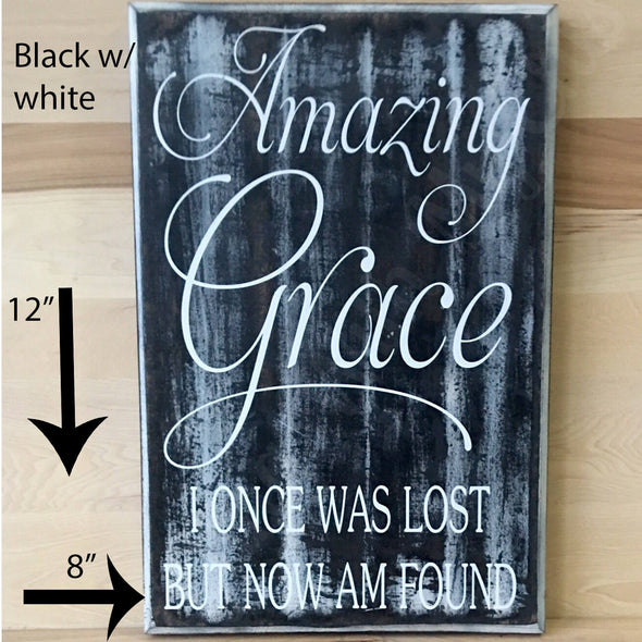 12x18 black with white amazing grace wood sign with white lettering