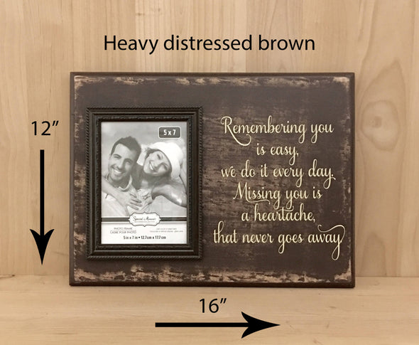 12x16 heavy distressed brown memorial wood sign with cream lettering